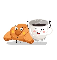 Funny croissant and coffee cup cartoon characters vector