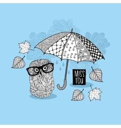 Smart owl under the umbrella vector image