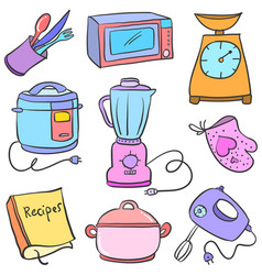 Collection kitchen set accessories doodles vector