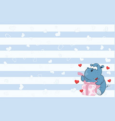 Valentines card with cute hippo poet vector