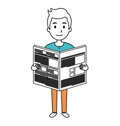 Young man reading newspaper avatar character vector