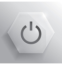 Glass button power button vector