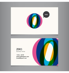 Business card with number 0 vector