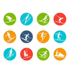 winter ski button icons set vector image