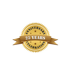 25 years anniversary celebration gold logo vector image