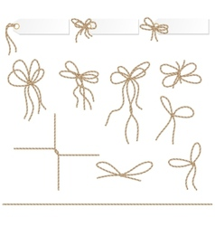 Collection of ribbons ahd bows in rope style vector