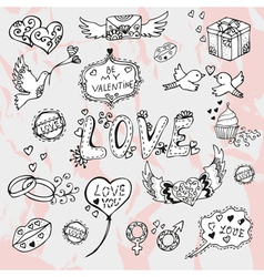 Valentines day doodles vector