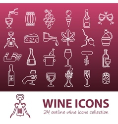 Wine outline icons vector