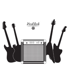Electric guitars and combo amp hard rock vector