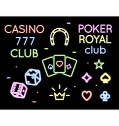 Set neon light logos of poker club and vector