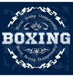 Boxing label and elements in dark background vector