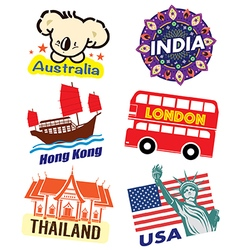 World country travel landmark icon set vector