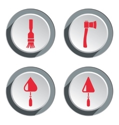 Tool icon set axe trowel spattle brush work vector
