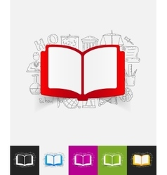 Book paper sticker with hand drawn elements vector