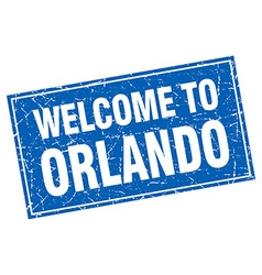 Orlando blue square grunge welcome to stamp vector