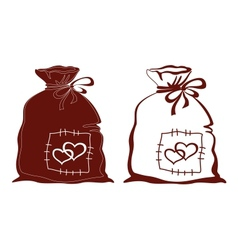 Bag with hearts silhouette set vector image