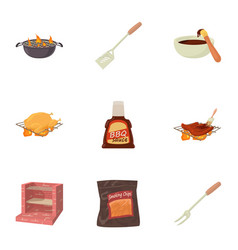 Bbq equipment icons set cartoon style vector