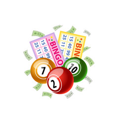 bingo game cards and round kegs jackpot winning vector image
