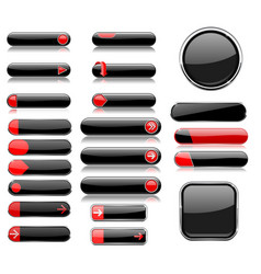 Black and red menu buttons interface elements vector