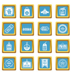 black friday icons azure vector image vector image