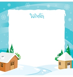 Border Of House With Snow And River vector image