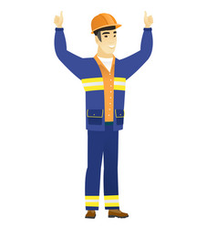 builder standing with raised arms up vector image