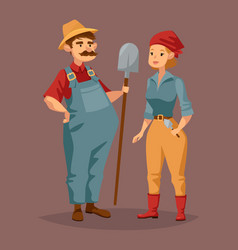cartoon gardener man and agriculture worker woman vector image vector image
