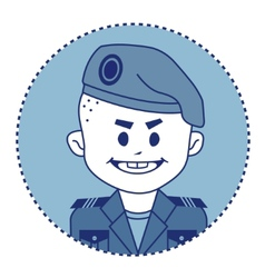 Character brave strong soldier in beret vector