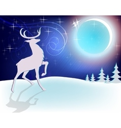 Design christmas deer with moon vector