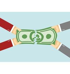 Divide the money torn entered hands pulled dollars vector