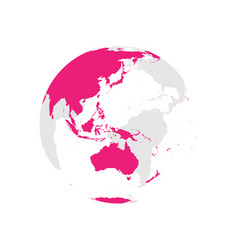 Earth globe with pink world map focused on vector