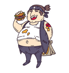 fat man with burger vector image