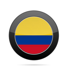 Flag of colombia shiny black round button vector