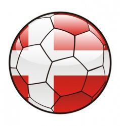 flag of Denmark on soccer ball vector image vector image