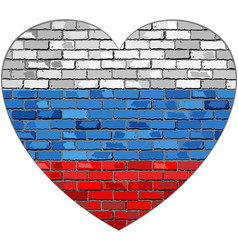 flag of russia on a brick wall in heart shape vector image vector image