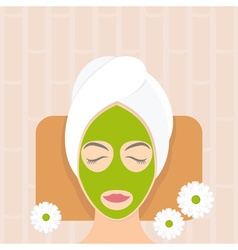 Flat design woman in natural mask vector