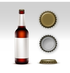 Glass brown bottle dark beer with label and caps vector