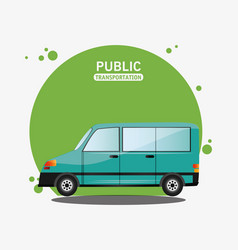 green van public transport design vector image