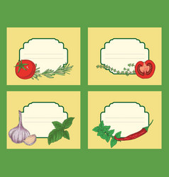Herbs and vegetables labels vector