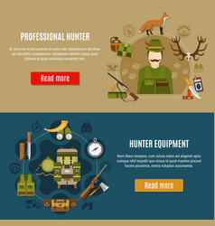Hunting equipment banners set vector