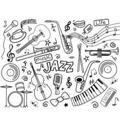 Jazz colorless set vector image