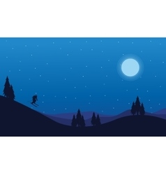 Landscape of people playing ski on the hill vector