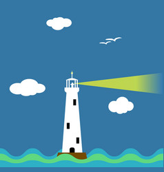 lighthouse on ocean cartoon background vector image vector image