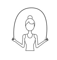 Line woman jumping to do exercise vector