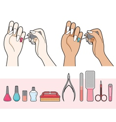 Manicure And Equipment For Nail Salon vector image vector image