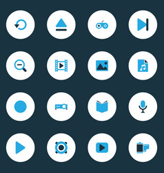 Media colorful icons set collection of picture vector