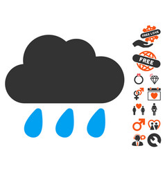 Rain cloud icon with dating bonus vector