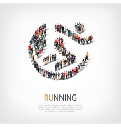 Running people sign 3d vector