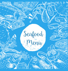 Seafood menu template fish shrimps oyster lobster vector