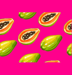 Seamless pattern with papaya of vector